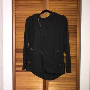 Charcoal asymmetrical zip hoodie